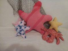 Vintage Chenille Starfish Pillow Sea Shore Coastal Living