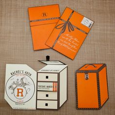 Birthday Party Customized Orange Travel Trunk Save-the-Date inspired by Hermes; Custom Stamp via Zazzle