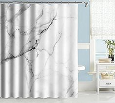 Uphome Marble Bathroom Shower Curtain, Heavy Duty White and Grey Fabric Shower Curtain for Bathtub Showers, Crack Design Decorative Brick Bathroom Accessories W x H) Brick Bathroom, Bathroom Shower Curtains, Fabric Shower Curtains, White Bathroom, Shower Curtain Art, Thing 1, Grey Curtains, Bathtub Shower, Bathroom Accessories
