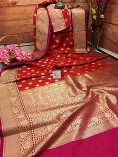 Hot Red Color Satin and Katan Banarasi Silk Saree Banarasi, Pure Silk Sarees, Cotton Saree, Bengali Bride, Marathi Bride, Priyanka Chopra Wedding, Kids Party Wear Dresses, Katan Saree, Saree Dress
