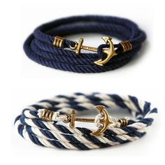 Fashion Anchor Braid Bracelets with Words Detail 050316