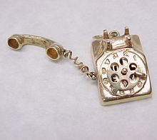 Vintage 14k Gold Charm Rotary TELEPHONE circa 1950's MOVES