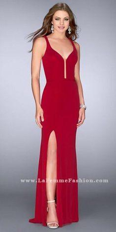 d6b2d84324f Illusion Plunging Strappy Open Back Jersey Prom Dress by La Femme Dresses