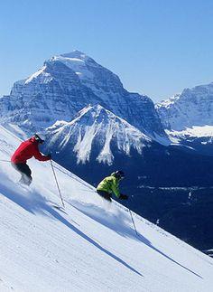 Sking the steep slopes at Lake Louise Ski Area