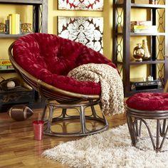 Papasan Chair Frame - Brown - Red Cushion - Pier 1