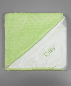 Take+a+look+at+the+Princess+Linens+Layette+Lime+&+White+Snuggle+Personalized+Stroller+Blanket+on+#zulily+today!