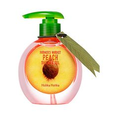 [Holika Holika] Farmer's Market Peach Shower Gel 240ml ($13) ❤ liked on Polyvore featuring beauty products, bath & body products, body cleansers and beauty