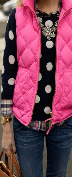 Pink vest, polka dots for fall or winter