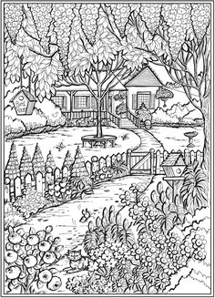 Welcome to Dover Publications - CH Country Gardens Dover Coloring Pages, Cool Coloring Pages, Coloring Pages To Print, Coloring Sheets, Coloring Books, Garden Coloring Pages, House Colouring Pages, Free Adult Coloring, Dover Publications