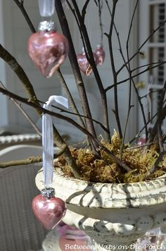 table.quenalbertini: Valentine's Day Table with a Crafted Heart Tree Centerpiece | Between Naps on the Porch