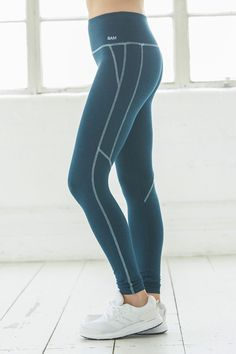3c884f740ee828 Women's Yoga Contrast Stitch Bamboo Leggings - Ocean Teal Marl - Bamboo  Clothing