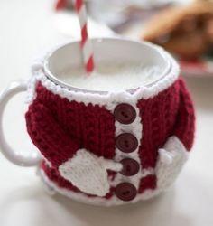 Santa Knitted Mug Sweater Free Pattern
