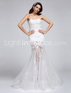 2017 Trumpet / Mermaid Wedding Dress Floor-length Sweetheart Lace / Organza with Flower / Lace 2016 - $119.99