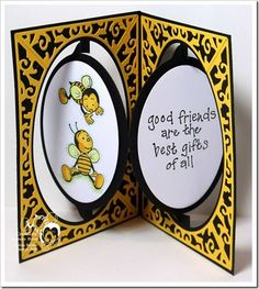 Friends -- Oval Accordion Card; Oval Flourish Frame Edges , colors  White; Black; Yellow