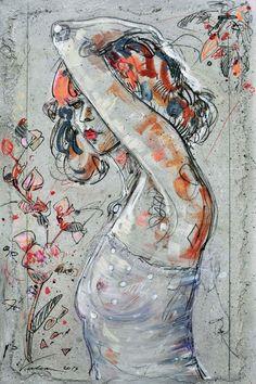 SIMONE 1 (Painting), 54x81 cm by Raluca Vulcan