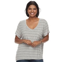 Juniors' Plus Size SO® Scoopneck Tee, Teens, Size: 2XL, Med Grey