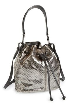 Elizabeth And James Mini Cynnie Snake Effect Leather Convertible Bucket Bag Available At