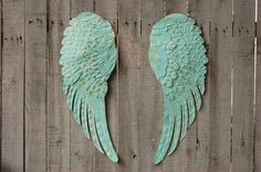 ADORABLE FOR A LITTLE GIRLS ROOM!           Large Angel Wings, Shabby Chic, Aqua, Gold, Metal, Upcycled, Hand Painted, Shabby Chic Decor, Boho Chic, Wall Decor, Nursery Decor on Etsy, $169.00