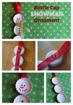 Could use pop bottle lids too-Adorable snowman bottle cap kids craft. Great for a heart felt, Homemade Christmas gift for grandparents, teachers, Or just to hang on the tree Diy Snowman, Snowman Ornaments, Christmas Snowman, Christmas Holidays, Christmas Ornaments, Snowman Decorations, Snowman Party, Christmas Stuff, Ornament Crafts