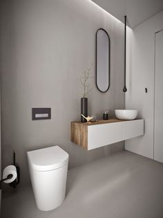Minosa Design: Powder Room - ceiling mounted sink spout (black hangingthing)