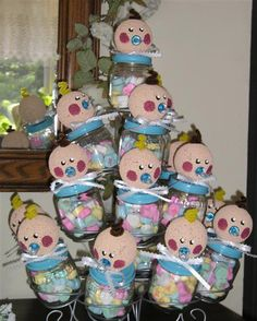 These baby shower babies, filled with sweet treats for guests to take home, a unique way to pay it forward once your baby food jars are empty!  Source: A New Life on the Homestead
