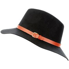 93fe1648aa1 Black Leather-Look Trim Fedora (26 CAD) ❤ liked on Polyvore featuring  accessories
