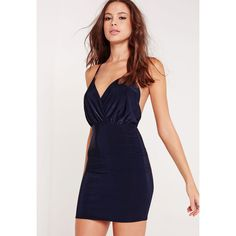 Missguided Slinky Strappy Plunge Bodycon Dress ($27) ❤ liked on Polyvore featuring dresses, navy, short dresses, plunging neckline cocktail dress, plunge-neck dresses, navy cocktail dress and strappy bodycon dress