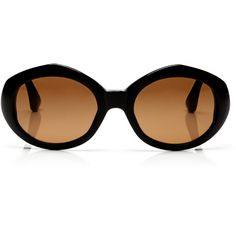 Linda Farrow + Dries Van Noten Oval Acetate Sunglasses (€110) ❤ liked on Polyvore featuring accessories, eyewear, sunglasses, black, oval glasses, oval sunglasses, brown lens sunglasses, linda farrow eyewear and retro sunglasses