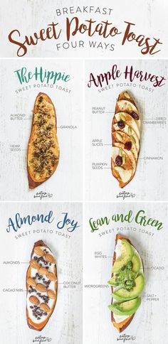 Breakfast Sweet Potato Toast Four Different Ways!!