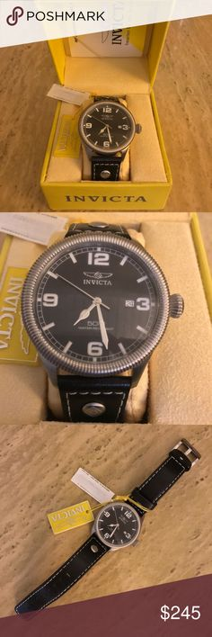 """NWT Authentic Men's Invicta Watch NWT Authentic Invicta Watch   From Invicta's """"Vintage"""" Collection. Model 1460. Riveted black calf leather strap with contrast stitching. Swiss Quartz movement. Analog display. Protective Flame Fusion crystal dial window. Luminosity, stainless steel case and bezel, buckle closure, diamond-shape push-pull crown. Water resistant to 165 ft (50 M). Case has some marks but watch is brand new!   Reasonable offers welcome! 20% bundle discount! Smoke- & pet-free home…"""