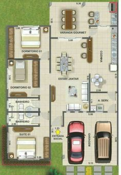 Perfeita Modern Bungalow House, Bungalow House Plans, Dream House Plans, Small House Plans, House Floor Plans, 4 Bedroom House Designs, Home Room Design, House Design Photos, House Front Design