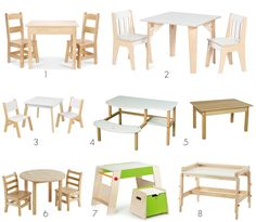 Wooden children's table options for Montessori home. Play Spaces, Learning Spaces, Kid Spaces, Wooden Childrens Table, Wooden Tables, Diy Cnc, Ikea Chair, Classroom Design, Dining Chairs