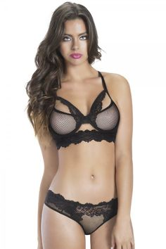 84bd553315 Oh La La Cheri Fishnet Bra and Hipster with Lace. Underwire fishnet bra  with lace