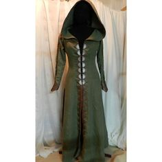 Legend of the Seeker Replica Confessor Kahlan's Green Linen Travelling... ❤ liked on Polyvore featuring dresses, lace up dress, linen dress, lace up front dress, laced dress and green linen dress