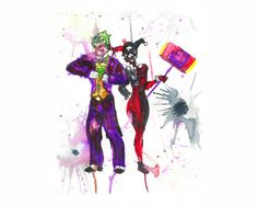 Joker Harley Quinn DC Comics Batman Villain Gotham City Arkham Asylum Art Hand Painted Watercolor Print Splatter Poster Wall Art Home Decor