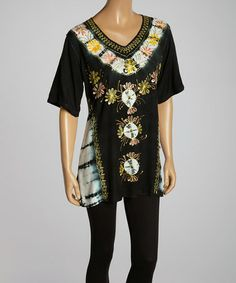 Loving this Black & White Floral Tie-Dye Accent V-Neck Tunic - Women on #zulily! #zulilyfinds