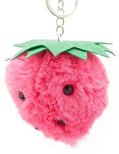 Strawberry Faux Fur Ball Keychain