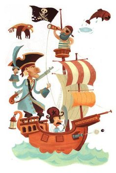 Clip Art of pirate ship - illustration of pirate ship with funny ...