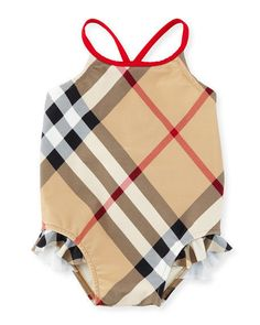 Burberry Lundy Check One-Piece Swimsuit, New Classic Size 12 months #Burberry #OnePiece