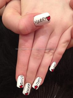 One direction freehand nail art over acrylic nails