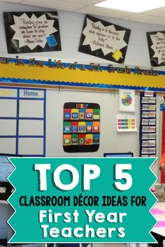 The first year of teaching is a challenge. One of the biggest obstacles you will face is finding ways to create an inviting classroom on a fixed budget. Eric and I hope to offer you some tips that will save you both time and money with these top five decorating tips for the classroom! New Classroom, Kindergarten Classroom, 5th Grade Classroom, Elementary Teacher, Classroom Design, Classroom Setting, Classroom Themes, Upper Elementary, Classroom Ideas For Teachers