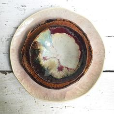 """Every time I complete a dinnerware set I think """"this is my favorite"""". This is River Journey. It will be my favorite for the next few days at least! by leewolfepottery"""