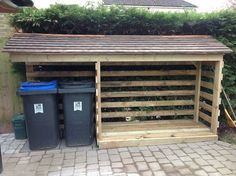 Now You Can Build ANY Shed In A Weekend Even If You've Zero Woodworking Experience! Start building amazing sheds the easier way with a collection of shed plans! Firewood Shed, Firewood Storage, Shed Storage, Storage Bins, Storage Ideas, Garbage Can Storage, Log Shed, Bike Shed, Bin Store
