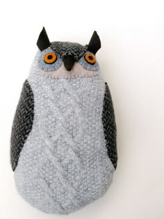 Gray owl with cables. $85.00, via Etsy. Mimi Kirchner