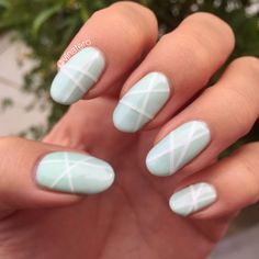 ✨ I'm really loving my Geometric Gel Nails with Subtle Striping Tape ✨ Hint: To make sure the striping tape doesn't peel up, use foundation gel on top off the striping tape & use two gel topcoats.  #nails #nailart #gelnails #geometricnails #stripingtape