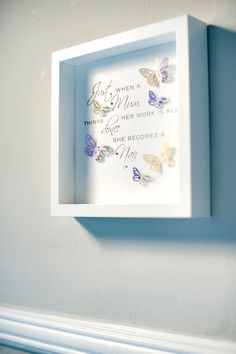 Items similar to Beautiful handmade box frame picture with a quote & butterflies and Swarovski crystals. on Etsy 3d Box Frames, Box Frame Art, Deep Box Frames, Diy Frame, Box Art, Frames Ideas, Paper Frames, Picture Frame Crafts, Picture Boxes