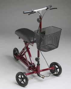 Weil Knee Walker 300 Lb Weight Capacity Click the image to view the details Burgandy Color, Burgundy, Scooters, Knee Scooter, Mobility Aids, Large Storage Baskets, Crutches, Knee Injury, Tear