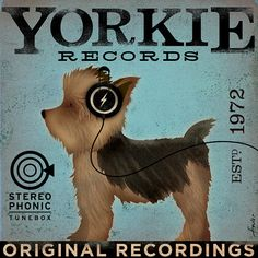 Yorkie Yorkshire Terrier records original graphic art giclee archival print by stephen fowler geministudio PIck A Size Yorkies, Yorkie Dogs, Puppies, Yorkshire Terrier Dog, Puppy Love, Fur Babies, Dog Breeds, Dog Lovers, Labrador