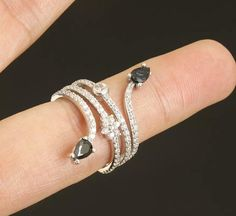 Solid sterling silver  onyx topaz ring