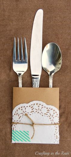 Doily and Paper Utensil Wrappers - super cute and easy way to spice up a dinner table!
